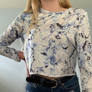 Blue marble like patterned satin blouse